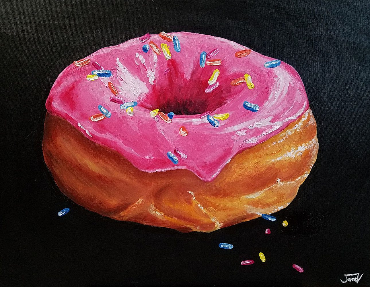 acrylic painting of a donut with pink frosting and sprinkles on a black background