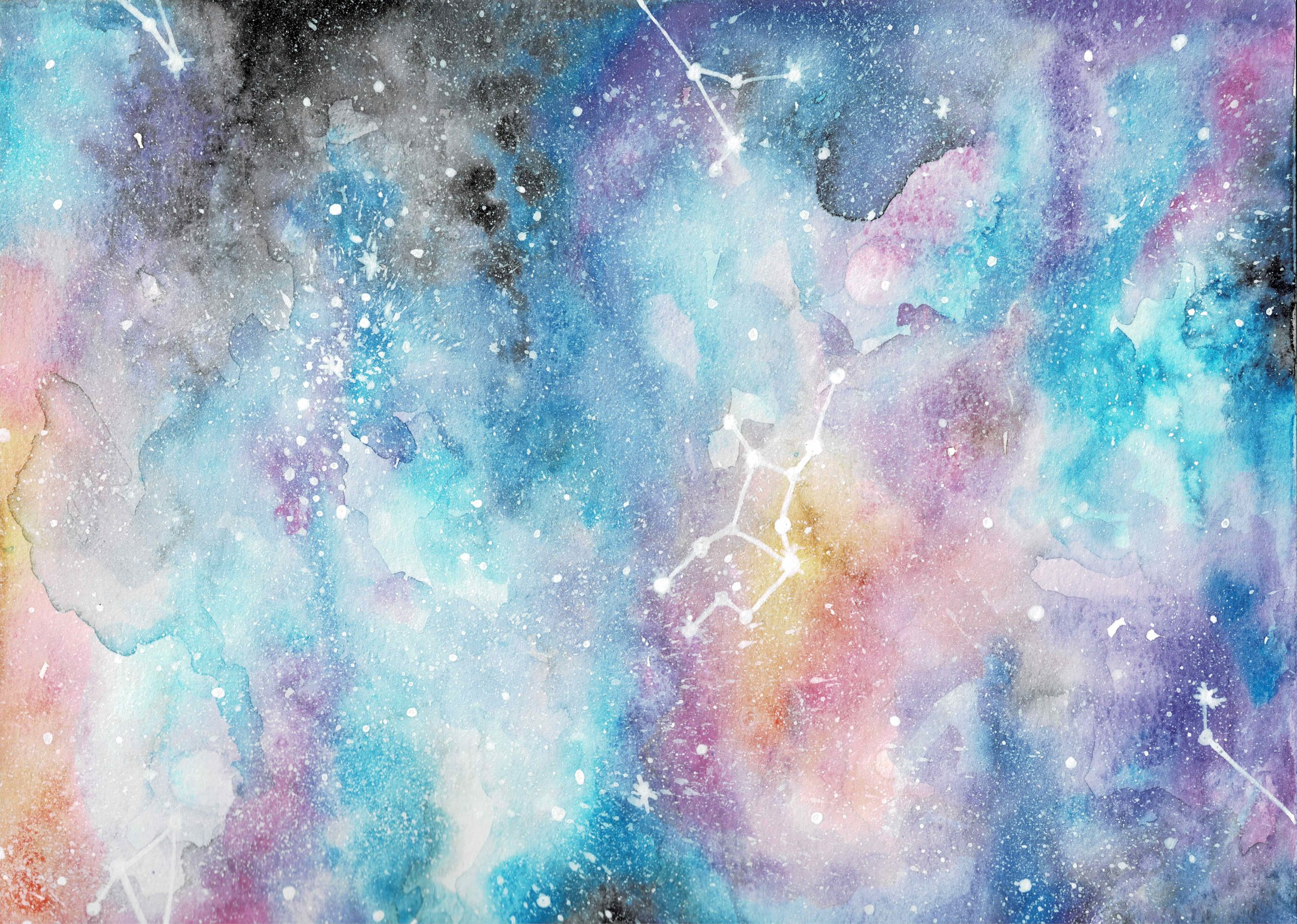 Watercolor painting of an abstract galaxy with black, blue, purple, yellow, and pink color with white ink splatters as stars with a Virgo constellation painted in the middle